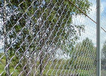 Забор из сетки рабицы на даче