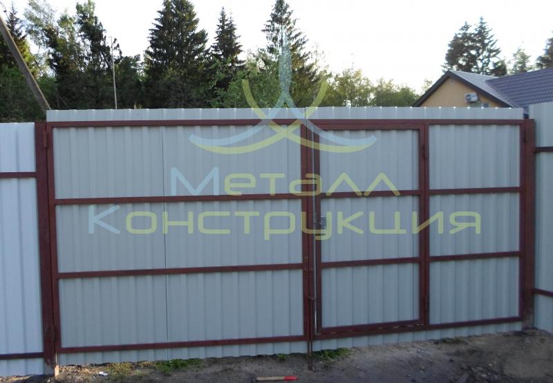 Ворота распашные промышленные с калиткой в Колпино